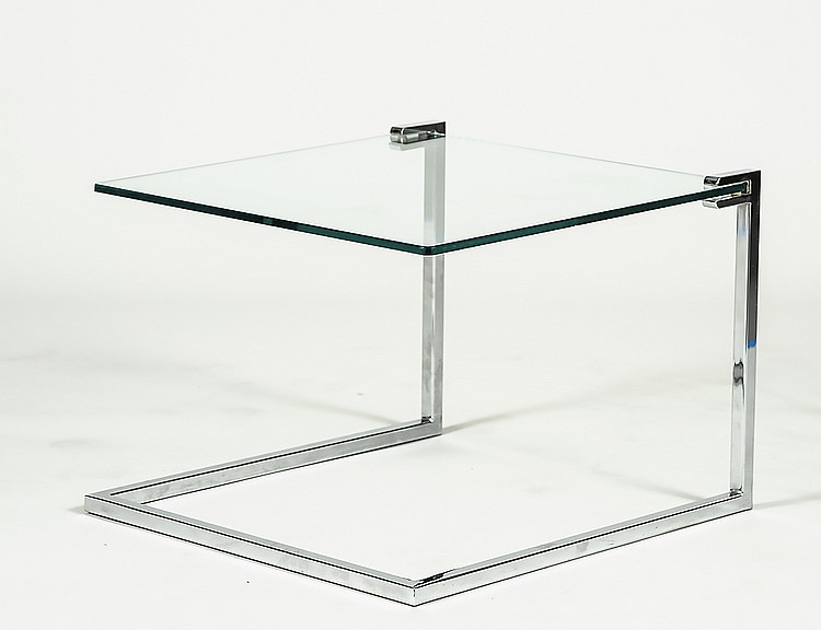 MIO BAUGHMER CANTILEVER GLASS AND CHROME SIDE TABLE