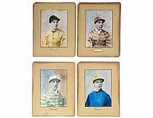 FOUR OFFSET PORTRAITS OF JOCKEYS