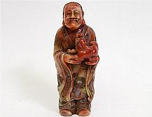 CHINESE CARVED SOAPSTONE FIGURE OF A TAOIST PRIEST