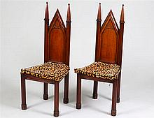 PAIR OF REGENCY 'GOTHIC' PANEL SEAT HALL CHAIRS