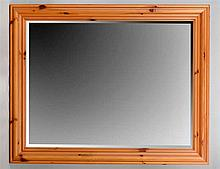 LARGE STAINED PINE OVERMANTLE MIRROR