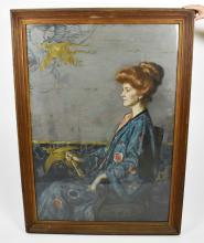 LEON-VICTOR SOLON (British/American. 1873-1957 ) Portrait of Miss Alice Anderton