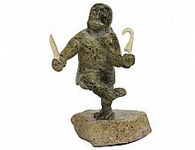 INUIT CARVED SOAPSTONE FIGURE OF A HUNTER