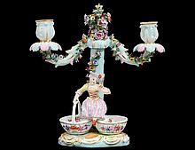 MEISSEN PORCELAIN TWO LIGHT CANDELABRUM