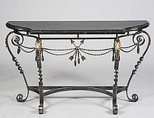 STEEL AND BRASS CONSOLE TABLE