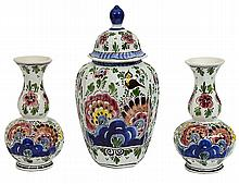 THREE PIECE DELFT BLUE AND WHITE PORCELAIN GARNITURE
