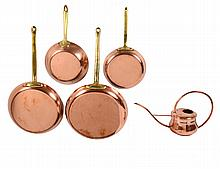 GROUP OF FOUR COPPER PANS