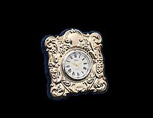 STERLING SILVER FACED DESK CLOCK