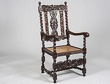 BAROQUE STYLE CARVED OAK HALL ARMCHAIR