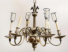 PEWTER SIX LIGHT CHANDELIER