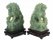 PAIR OF CELADON JADE FU DOGS
