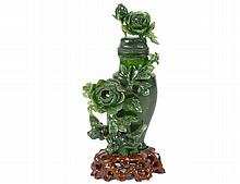 SPINACH JADE VASE AND COVER