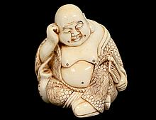 CARVED IVORY FIGURE OF HOTAI