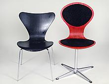 TWO ARNIE JACOBSEN LAMINATED PLYWOOD AND CHROMED SIDE CHAIRS