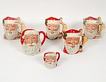 GROUP OF SIX ROYAL DOULTON SANTAS