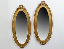 PAIR OF GILTWOOD OVAL MIRRORS