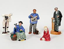 GROUP OF FIVE ROYAL DOULTON FIGURES