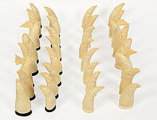 RUSSIAN CARVED WHALE'S TOOTH CHESS SET