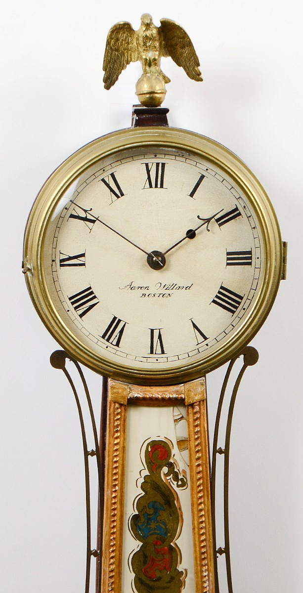 Federal Gilt Amp Eglomise Banjo Clock Aaron Willard