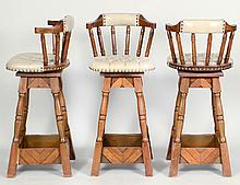 THREE FAUX LEATHER & WOOD CHAIR-BACK BAR STOOLS