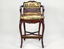 LOUIS XV STYLE STAINED WOOD CANED TALL ARM CHAIR