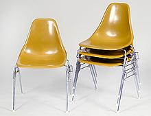 FOUR EAMES STYLE FIBERGLASS & CHROME SHELL CHAIRS