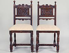 PAIR OF STUART CARVED OAK PLANK-SEAT SIDE CHAIRS