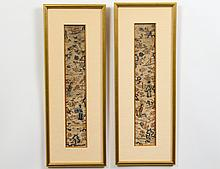 PAIR OF CHINESE KESI EMBROIDERED SILK SLEEVE BANDS