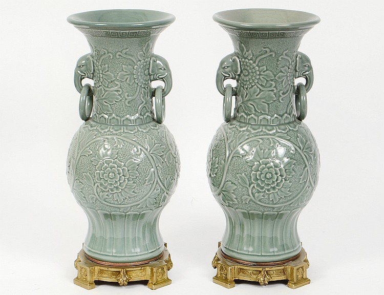 Pair of chinese bronze mounted celadon vases for Asian antiques west palm beach