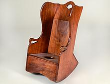 LATE GEOTRGIAN WALNUT CHILD'S COMMODE CHAIR