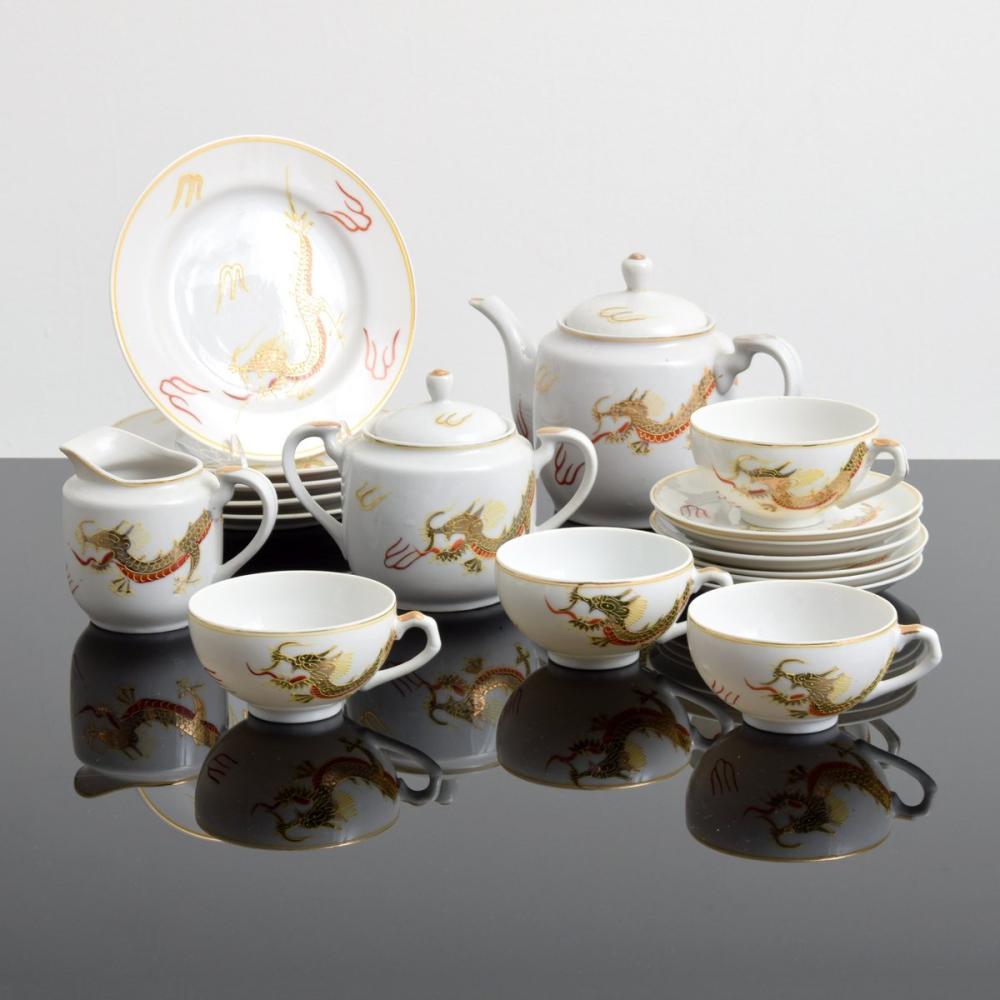 Kutani, Japan Lithophane Dragon Tea Set, 18 Pieces