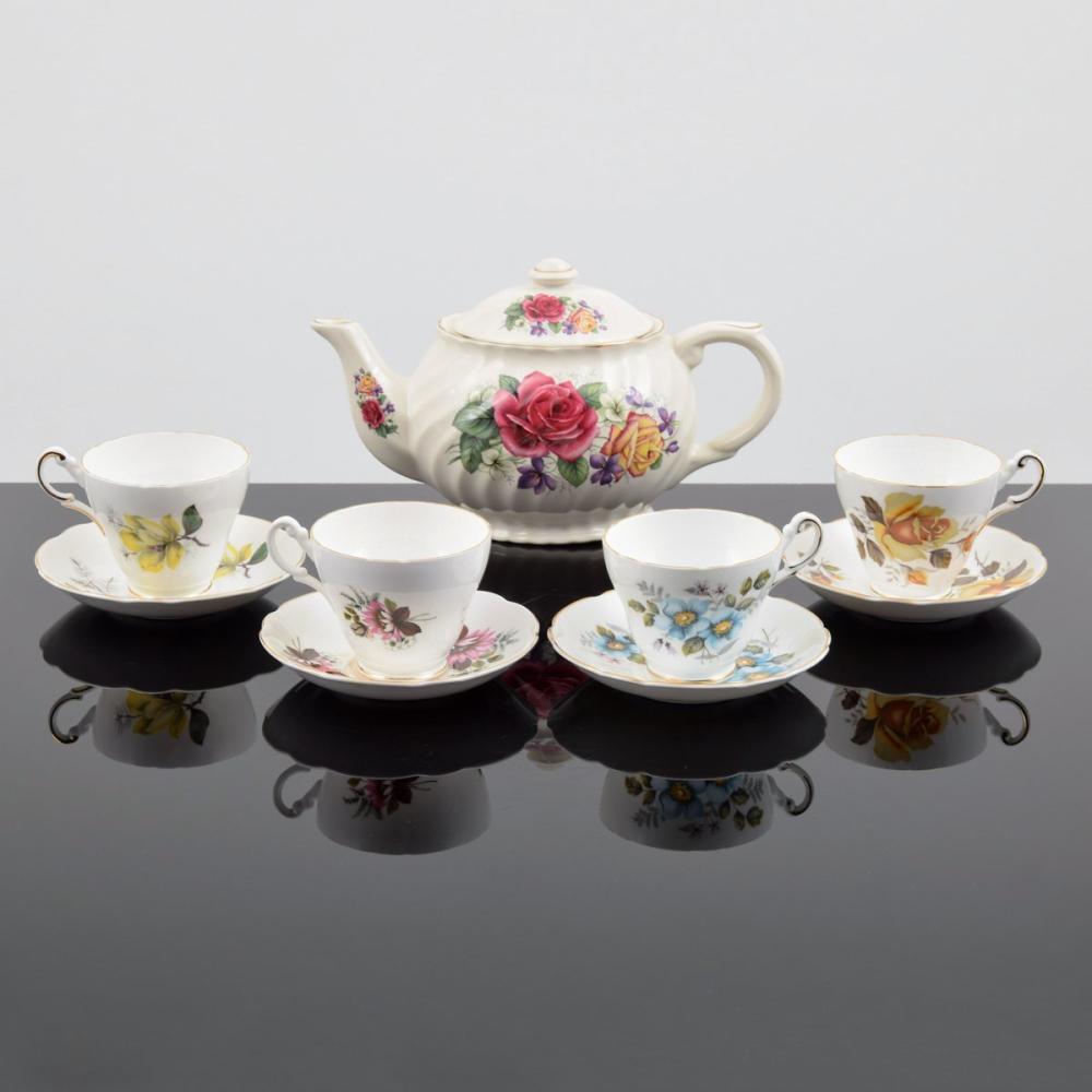 English Floral China Tea Set, 9 Mixed Floral Pieces