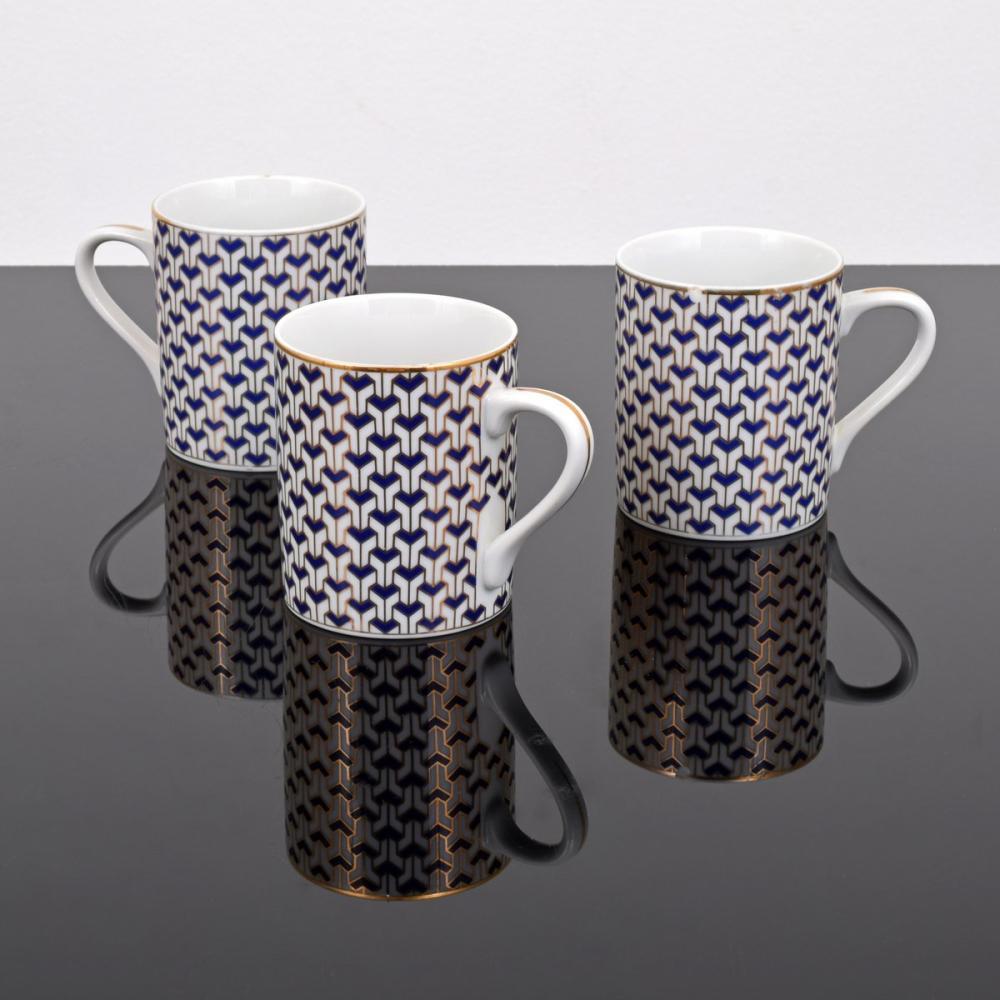 Set of 3 Tiffany & Co. MANHATTAN BLUE Coffee Mugs