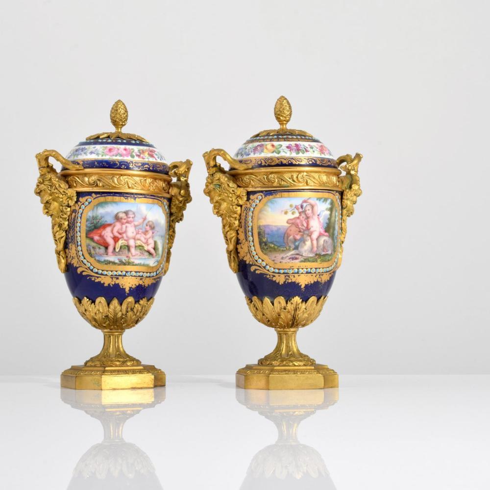 2 Sevres Covered Urns