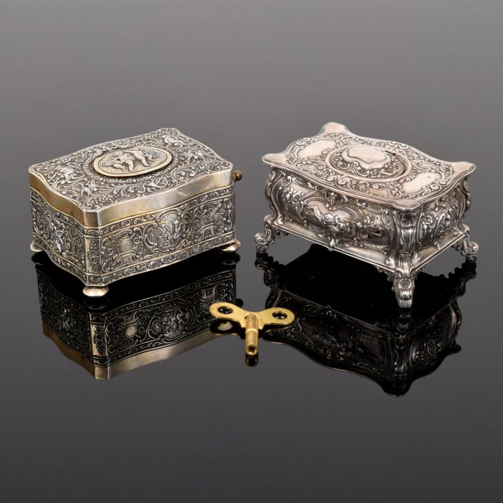 2 Sterling Silver Automaton Boxes, Manner of Karl Griesbaum