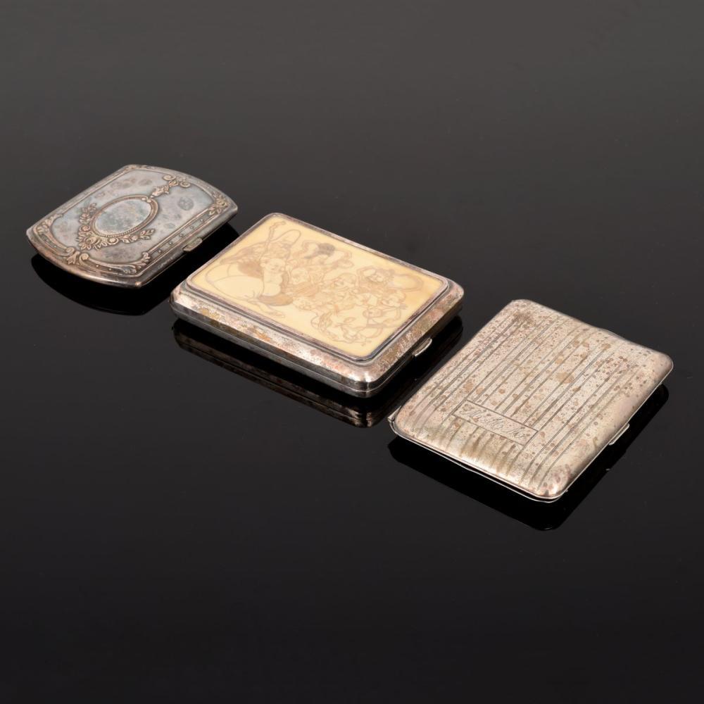 3 Silver Cigarette/Card Cases