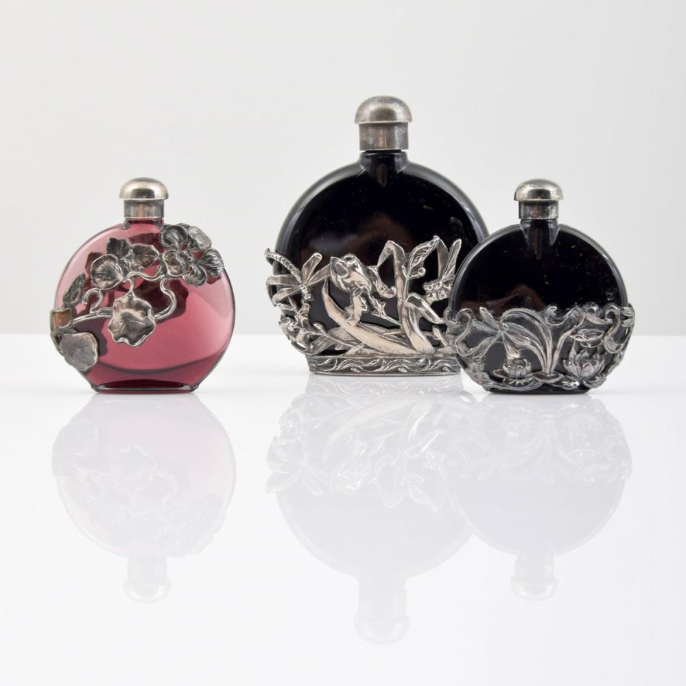 3 Silver Overlay Perfume Bottles