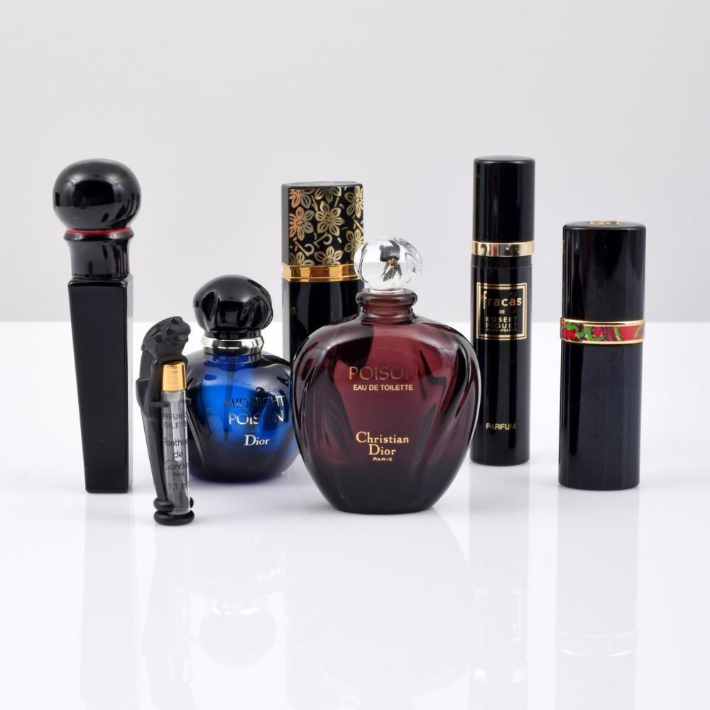 7 Perfume Bottles; Christian Dior, Cartier, Givenchy...