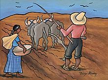 Diego Rivera Watercolor Painting, Original Work