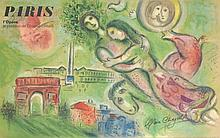 Marc Chagall (after) PARIS L'OPERA Lithograph, Signed Edition