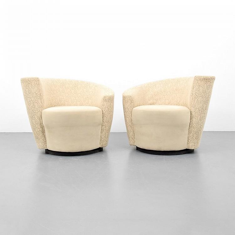 Pair of vladimir kagan nautilus swivel lounge chairs for Modern furniture west palm beach