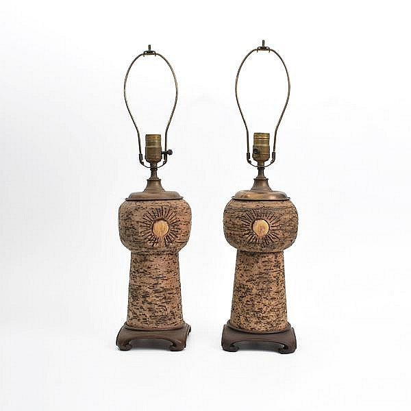 Pair of Leopold Anzengruber Stoneware Lamps