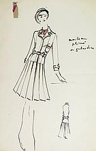 Original Fashion Drawing; Tiziani + Lagerfeld + Liz