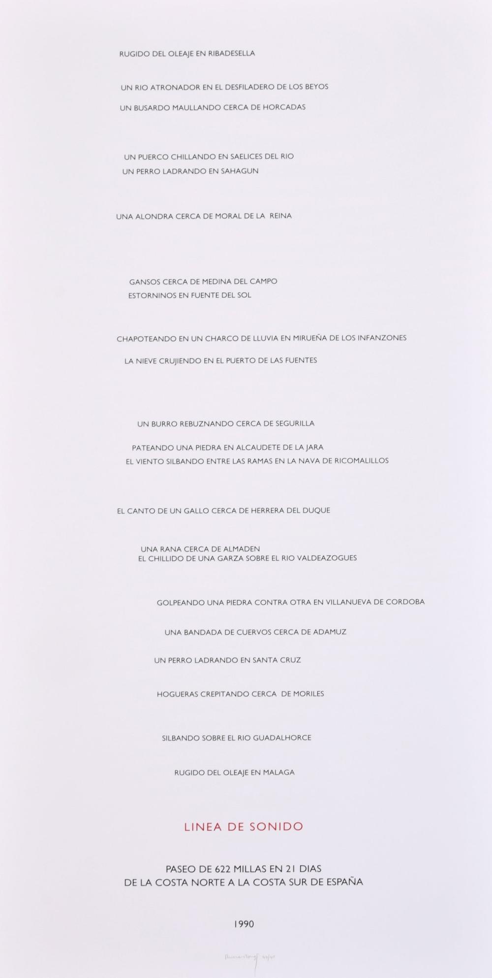 Large Richard Long LINEA DE SONIDO Screenprint