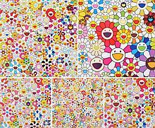 Takashi Murakami FLOWERS Lithographs, Set of 5