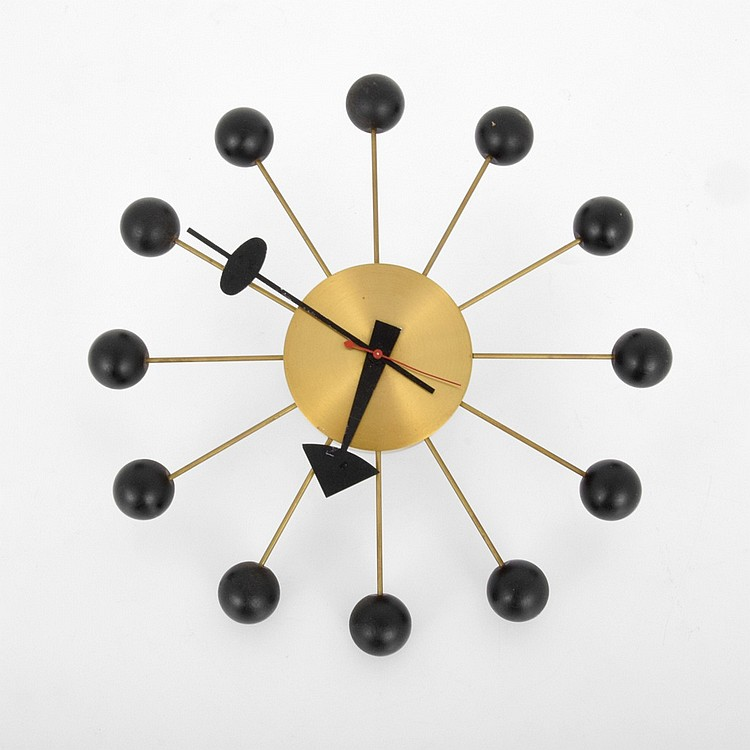 George nelson associates inc ball wall clock for Nelson wall clock