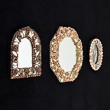3 Vintage Shell Encrusted Mirrors
