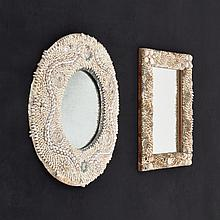 2 Vintage Intricate Shell Encrusted Mirrors