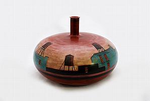 Rare Lidya Buzio Cityscape Vase/Vessel