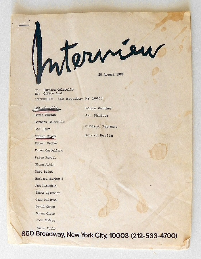 Interview Magazine Contact List